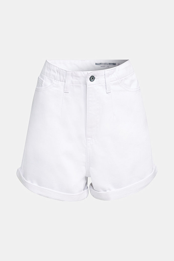 High-Rise-Shorts, Denim, WHITE, overview