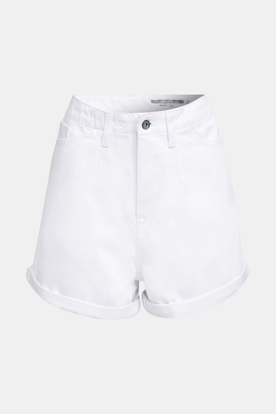 High-rise denim shorts, WHITE, detail image number 7
