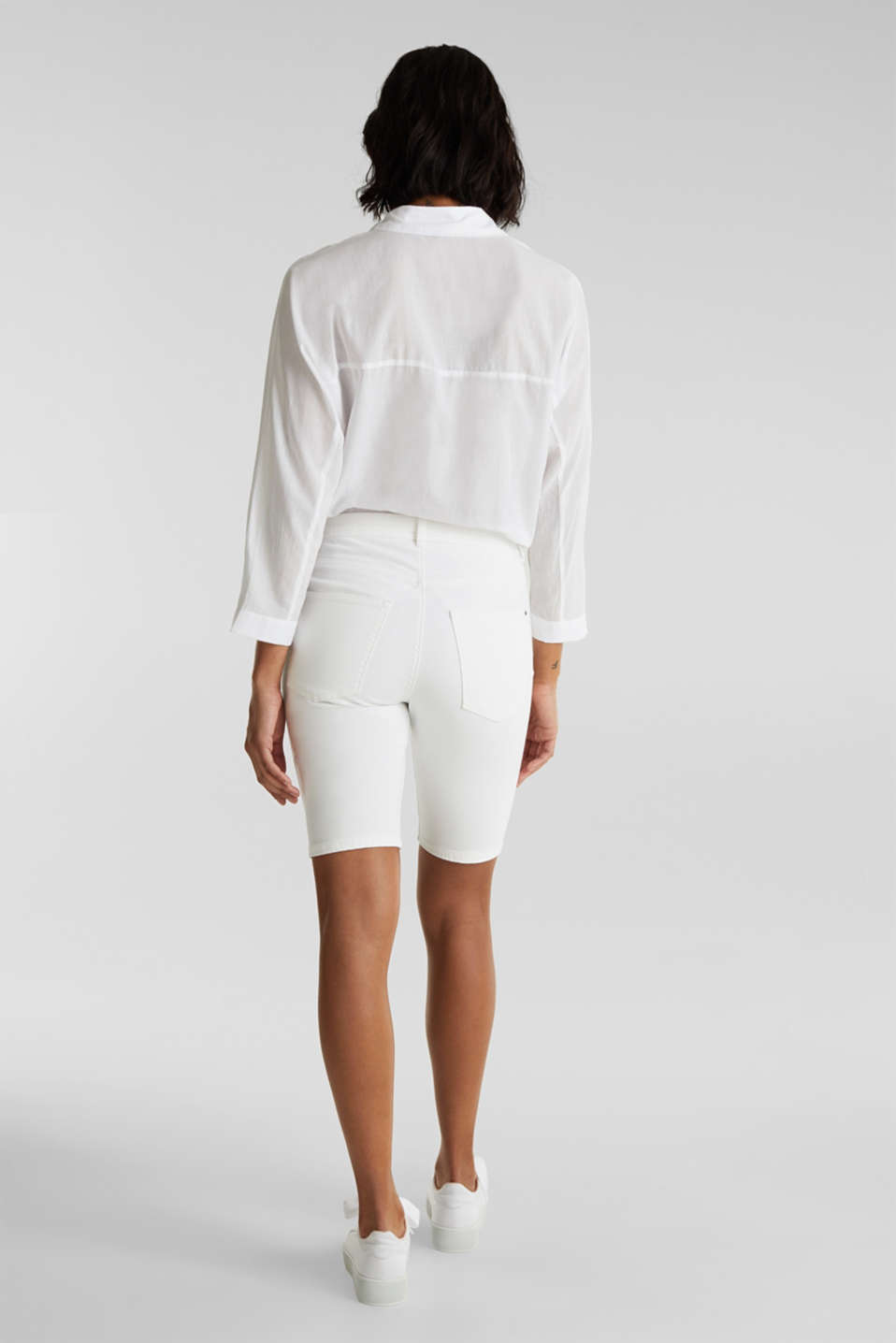 Stretch cotton shorts, WHITE, detail image number 3