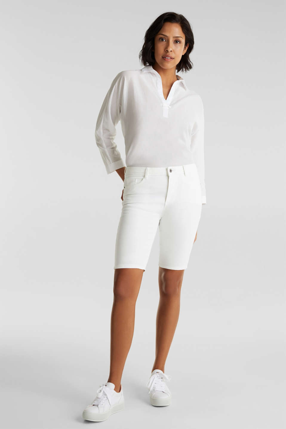 Stretch cotton shorts, WHITE, detail image number 1