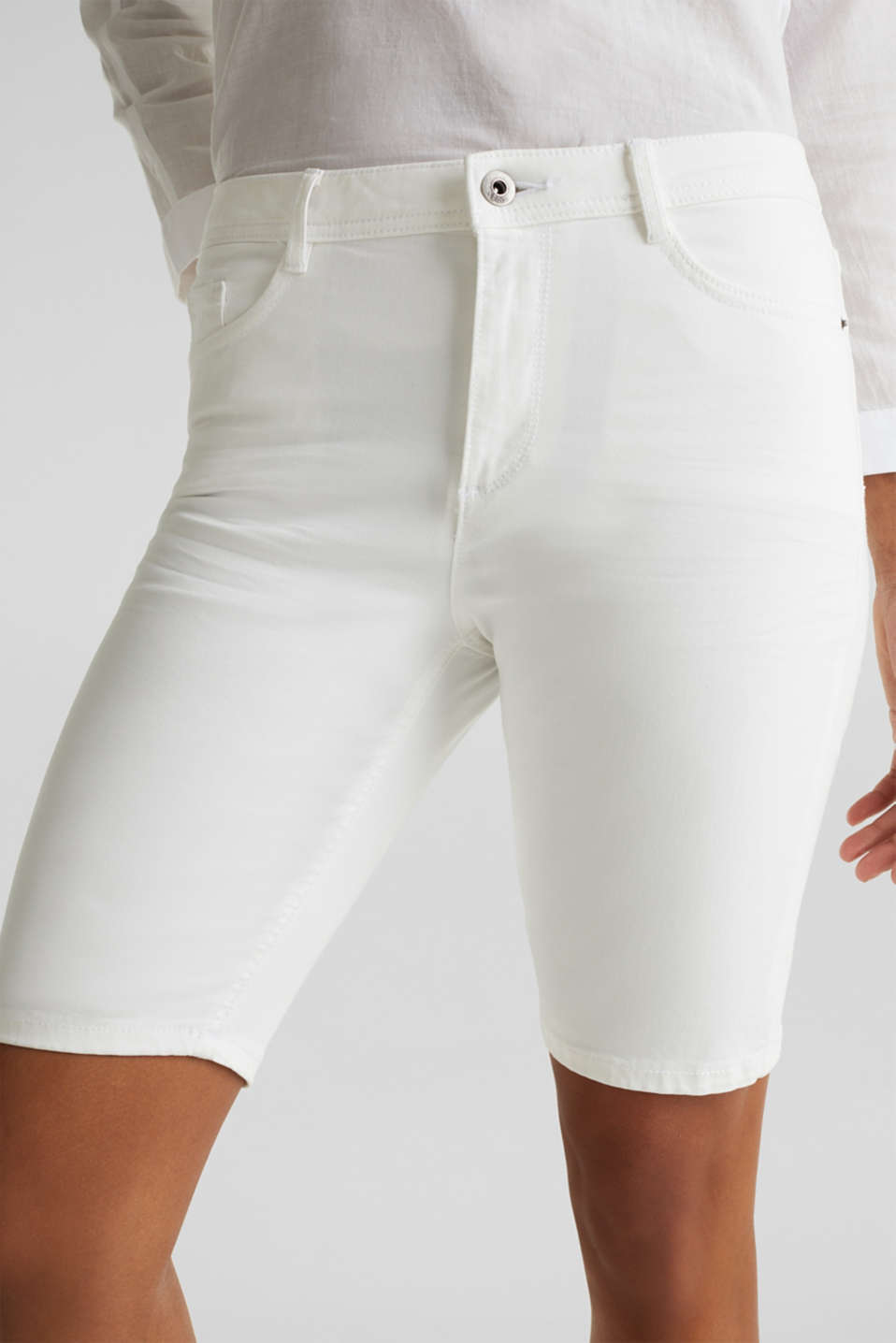 Stretch cotton shorts, WHITE, detail image number 2
