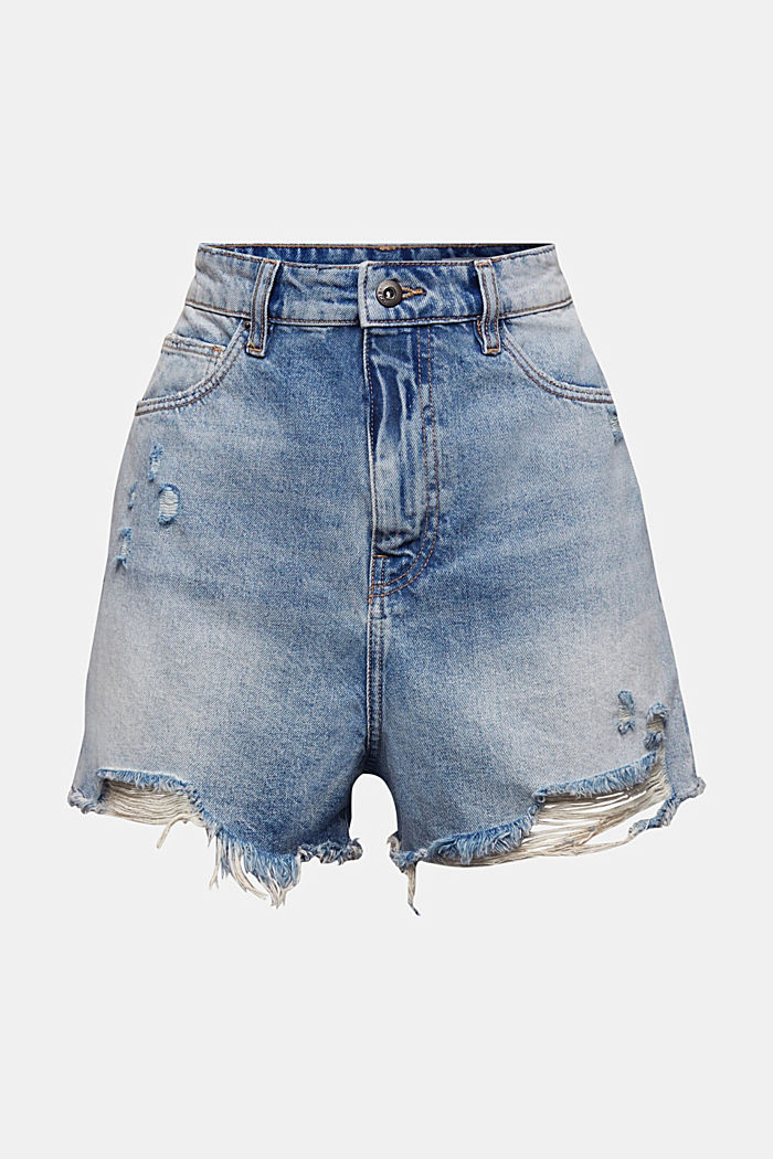 High-waisted shorts, BLUE MEDIUM WASHED, overview