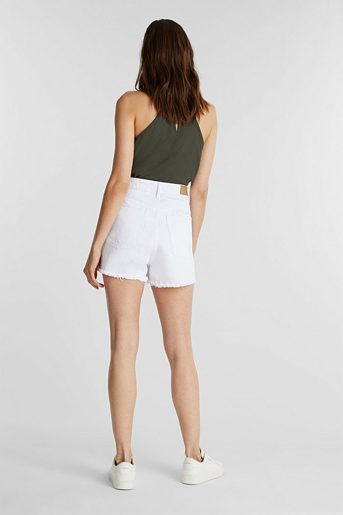 High rise denim shorts, WHITE, detail image number 2