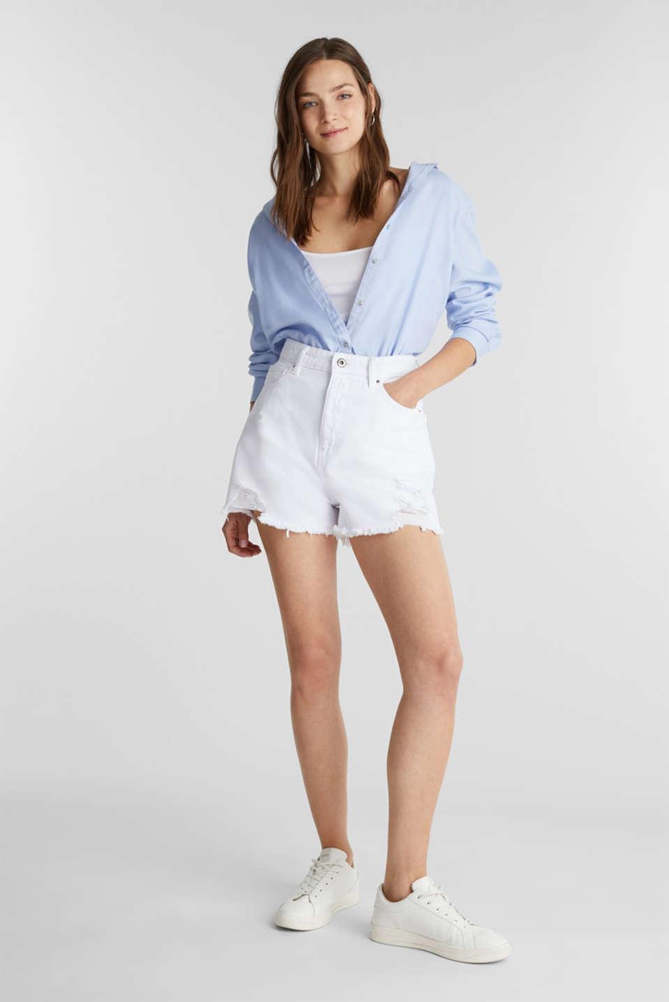 High rise denim shorts, WHITE, detail image number 4