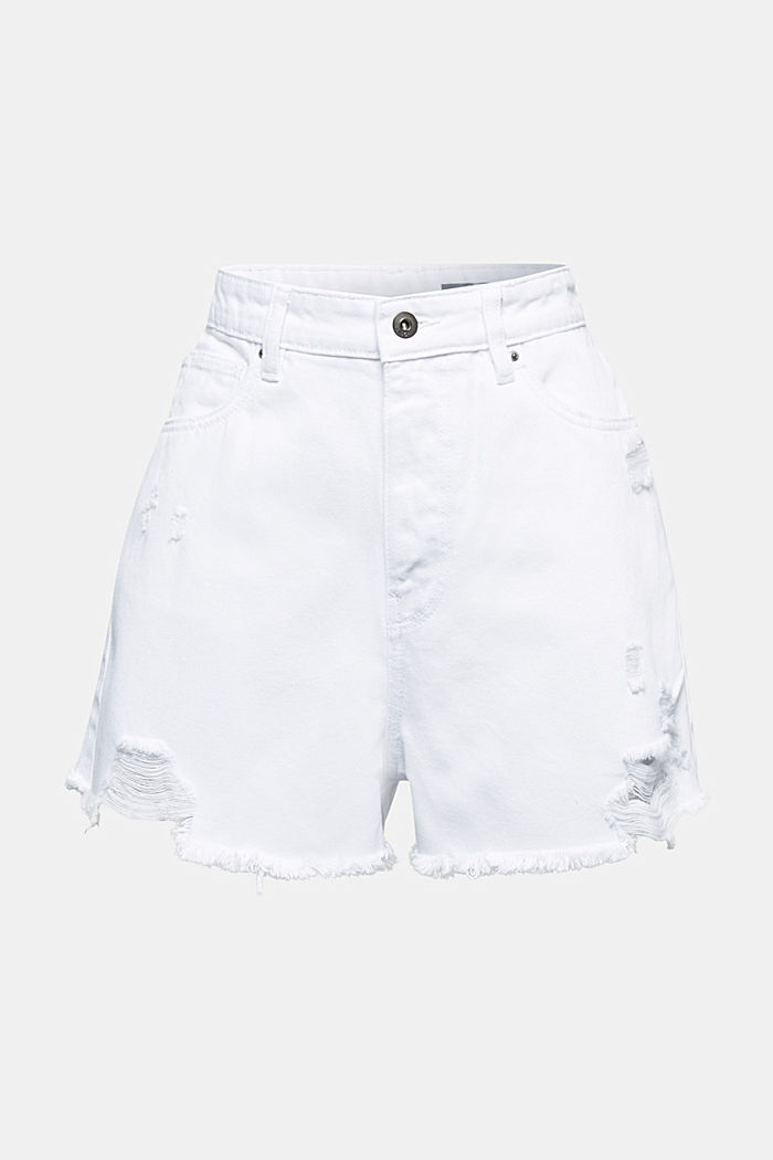 High rise denim shorts, WHITE, detail image number 5