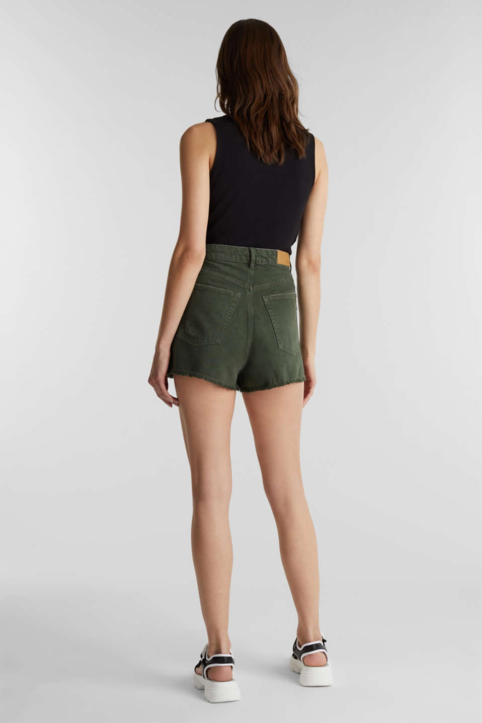 Vintage shorts with lyocell, KHAKI GREEN, detail image number 3