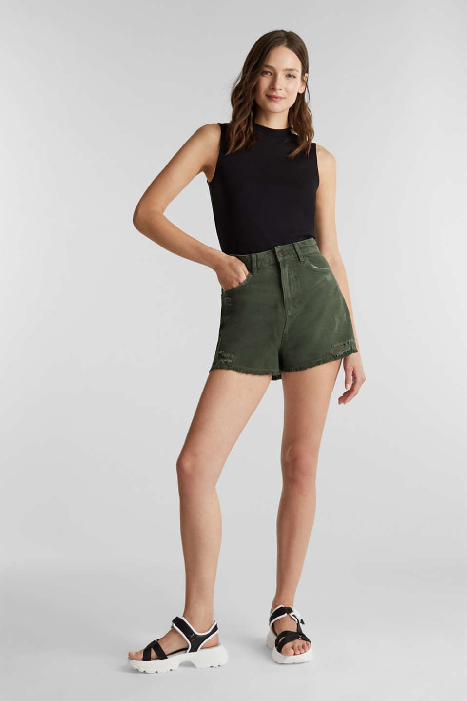 Vintage shorts with lyocell, KHAKI GREEN, detail image number 1