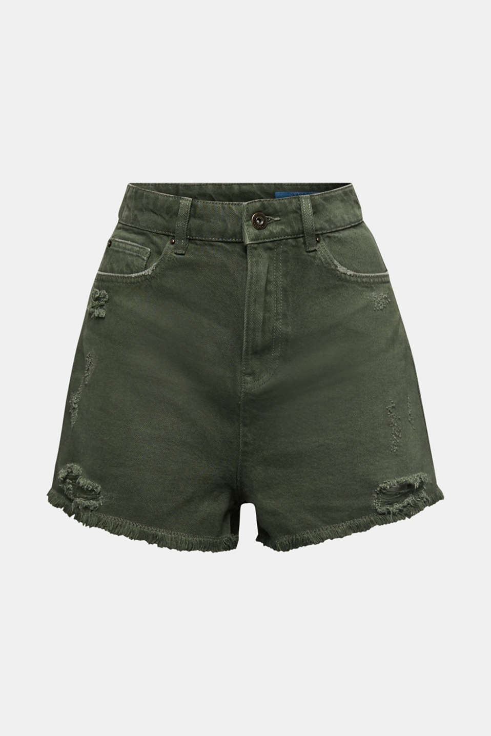 Vintage shorts with lyocell, KHAKI GREEN, detail image number 6