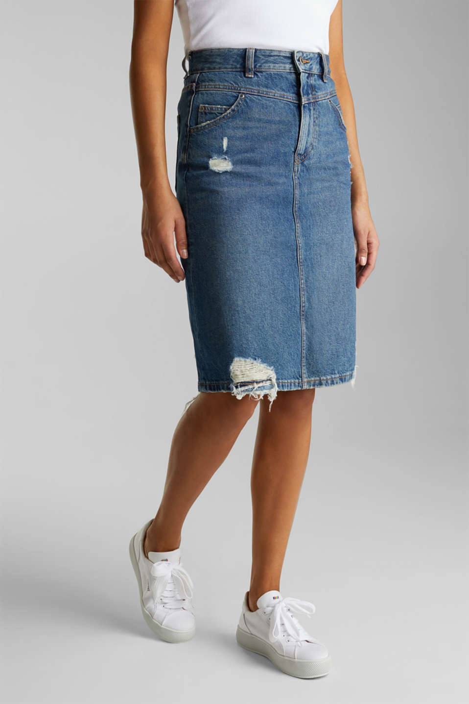 Denim skirt, 100% cotton, BLUE DARK WASH, detail image number 0