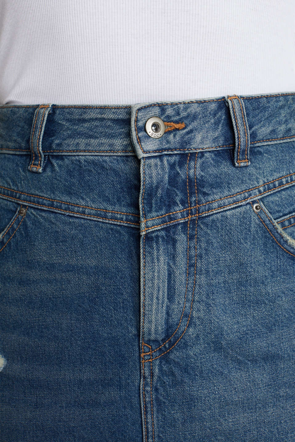 Denim skirt, 100% cotton, BLUE DARK WASH, detail image number 2