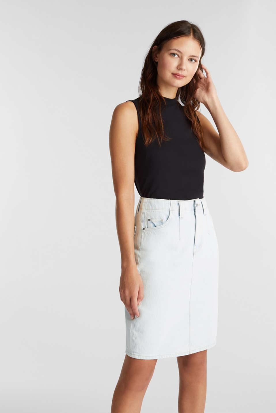 Denim skirt in 100% cotton, BLUE BLEACHED, detail image number 0