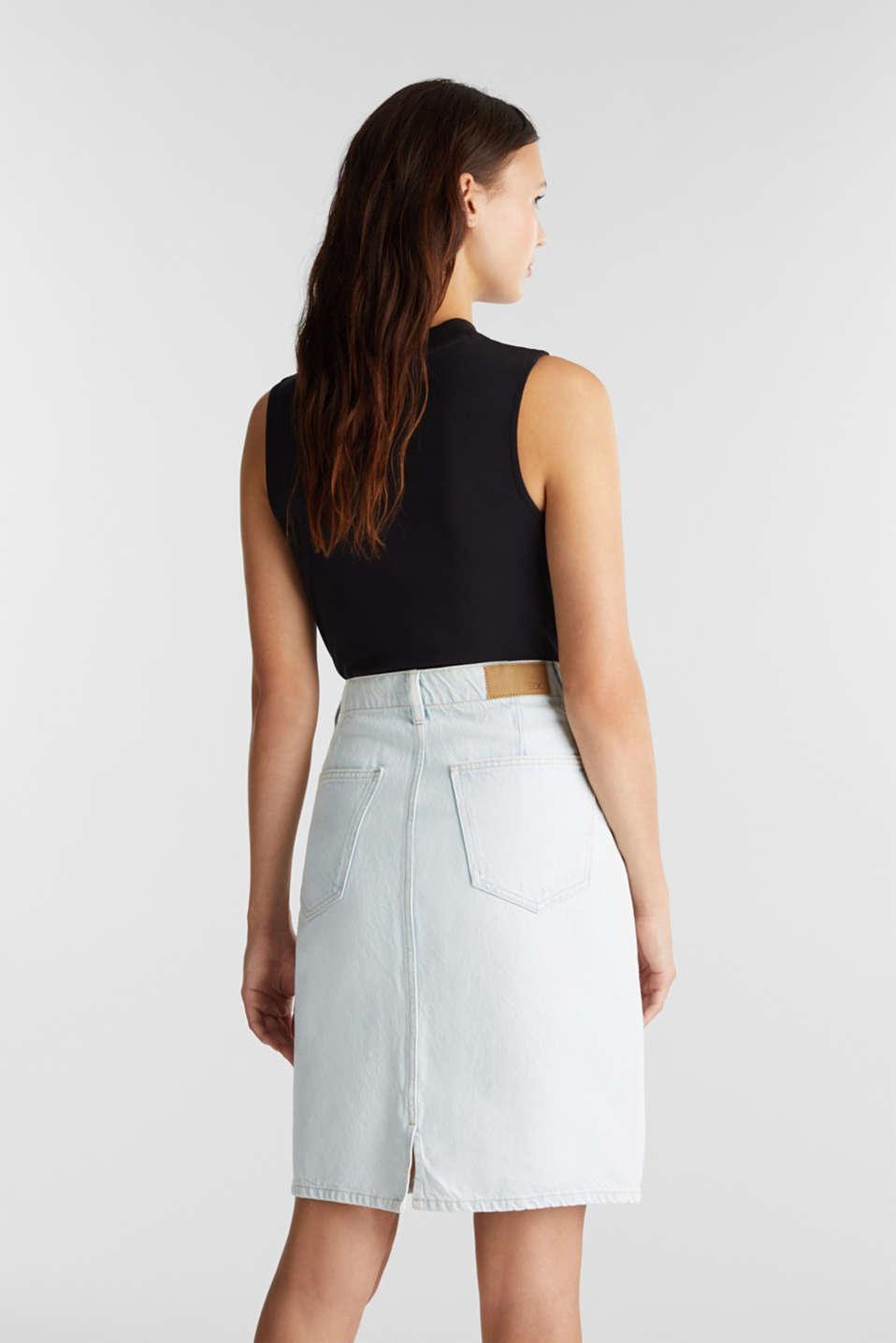 Denim skirt in 100% cotton, BLUE BLEACHED, detail image number 3