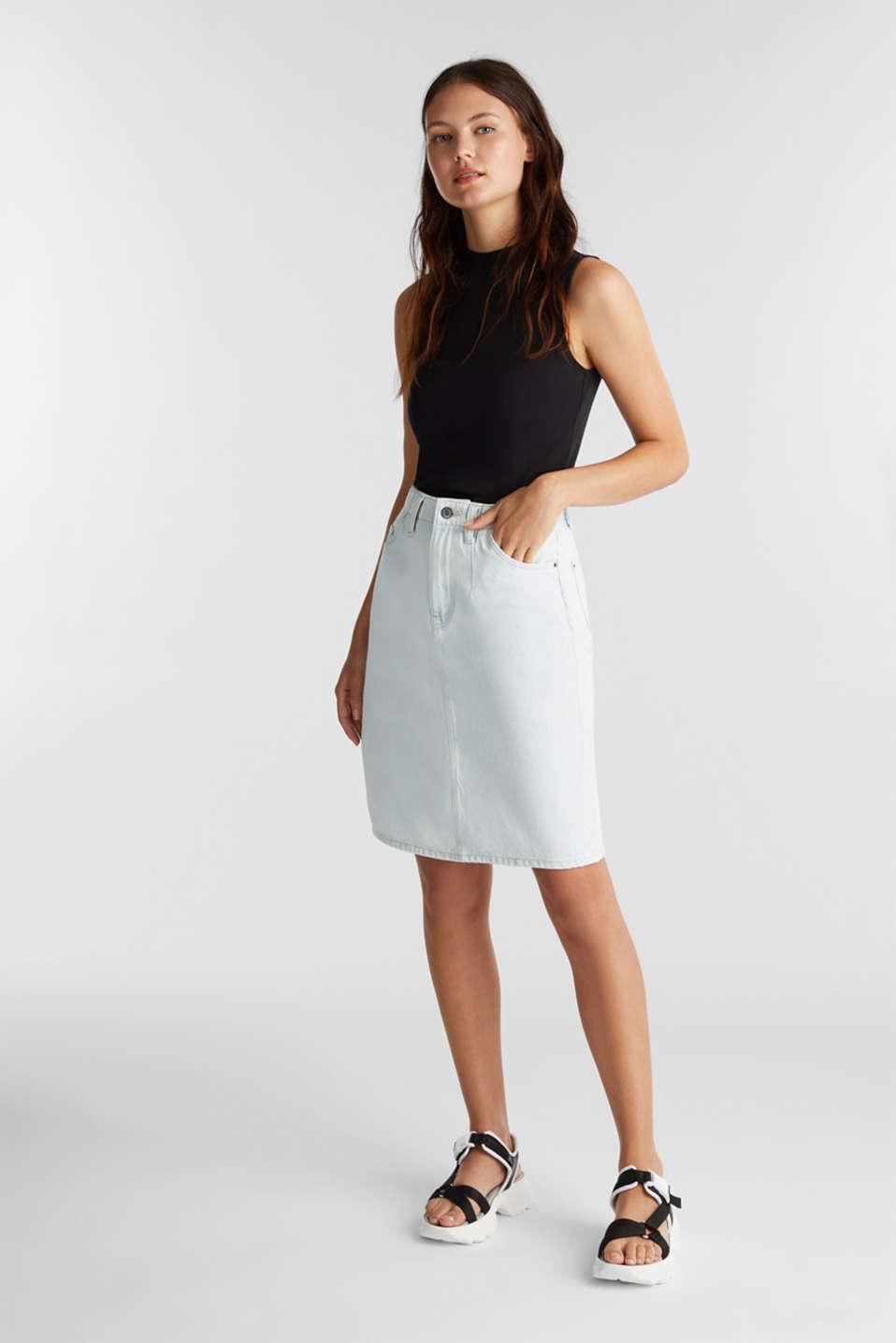 Denim skirt in 100% cotton, BLUE BLEACHED, detail image number 1