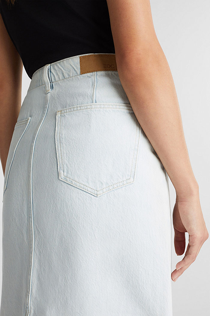 Denim skirt in 100% cotton, BLUE BLEACHED, detail image number 2