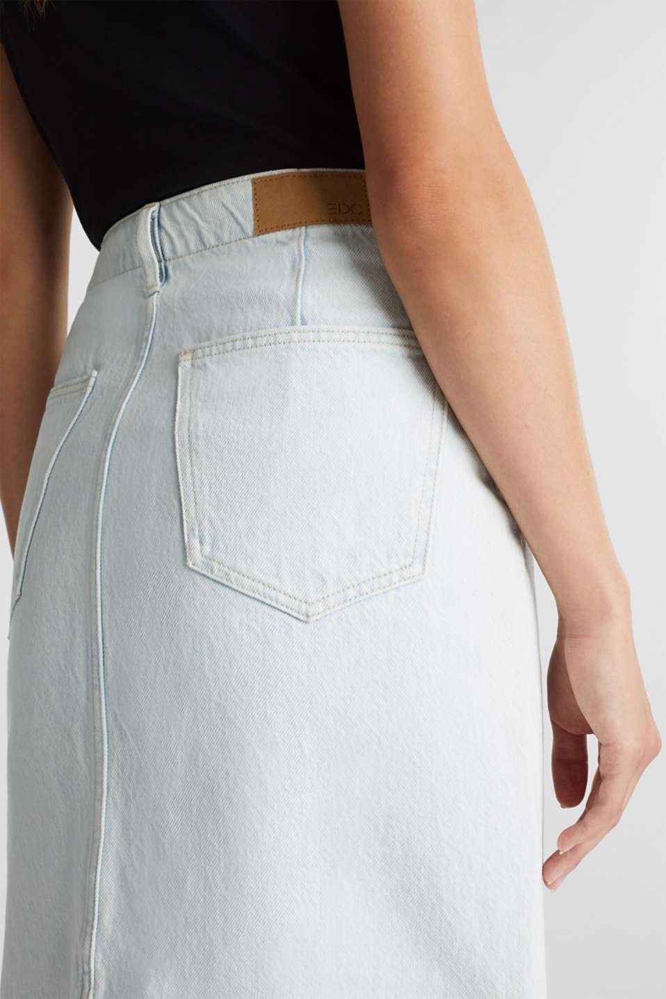 Denim skirt in 100% cotton, BLUE BLEACHED, detail image number 2