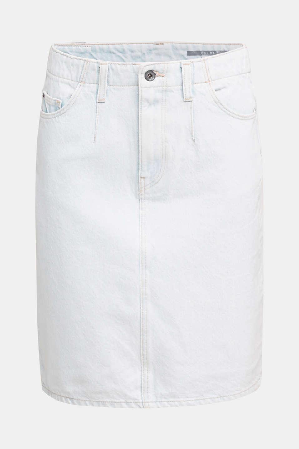 Denim skirt in 100% cotton, BLUE BLEACHED, detail image number 6
