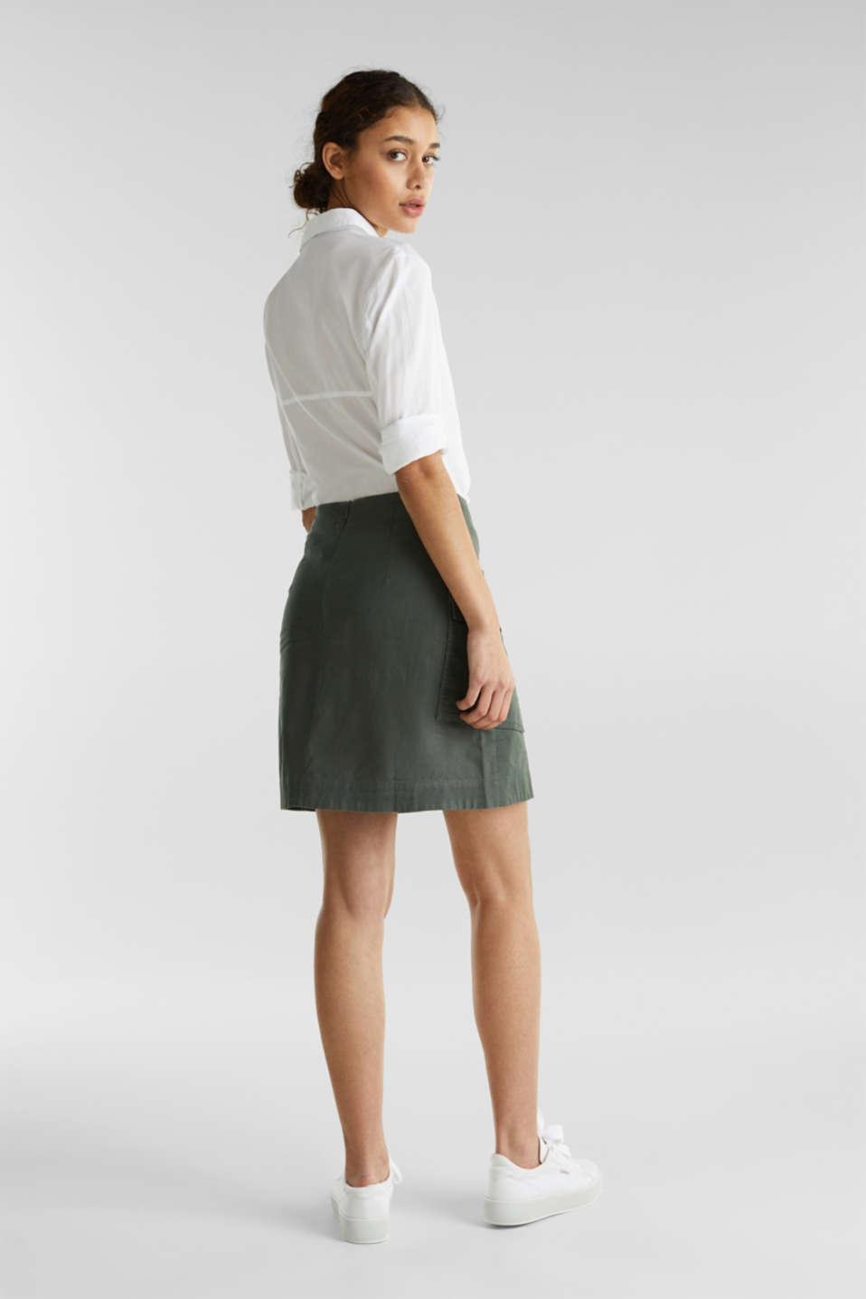 Cargo-style skirt in blended linen, KHAKI GREEN, detail image number 3