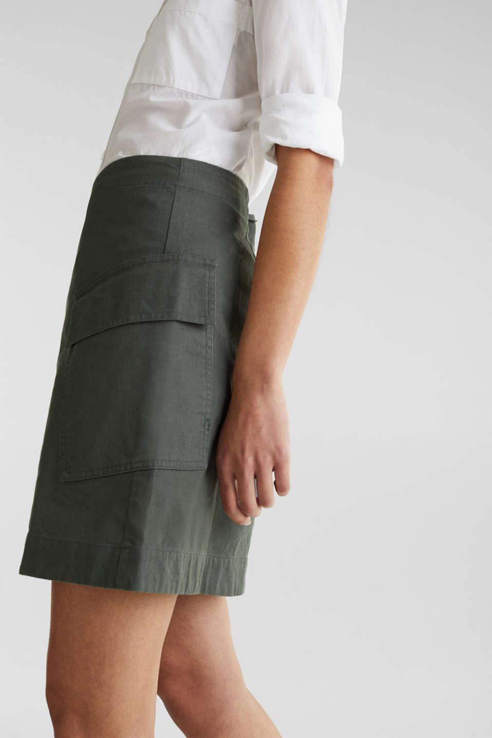 Cargo-style skirt in blended linen, KHAKI GREEN, detail image number 5