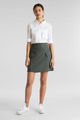 Cargo-style skirt in blended linen, KHAKI GREEN, detail