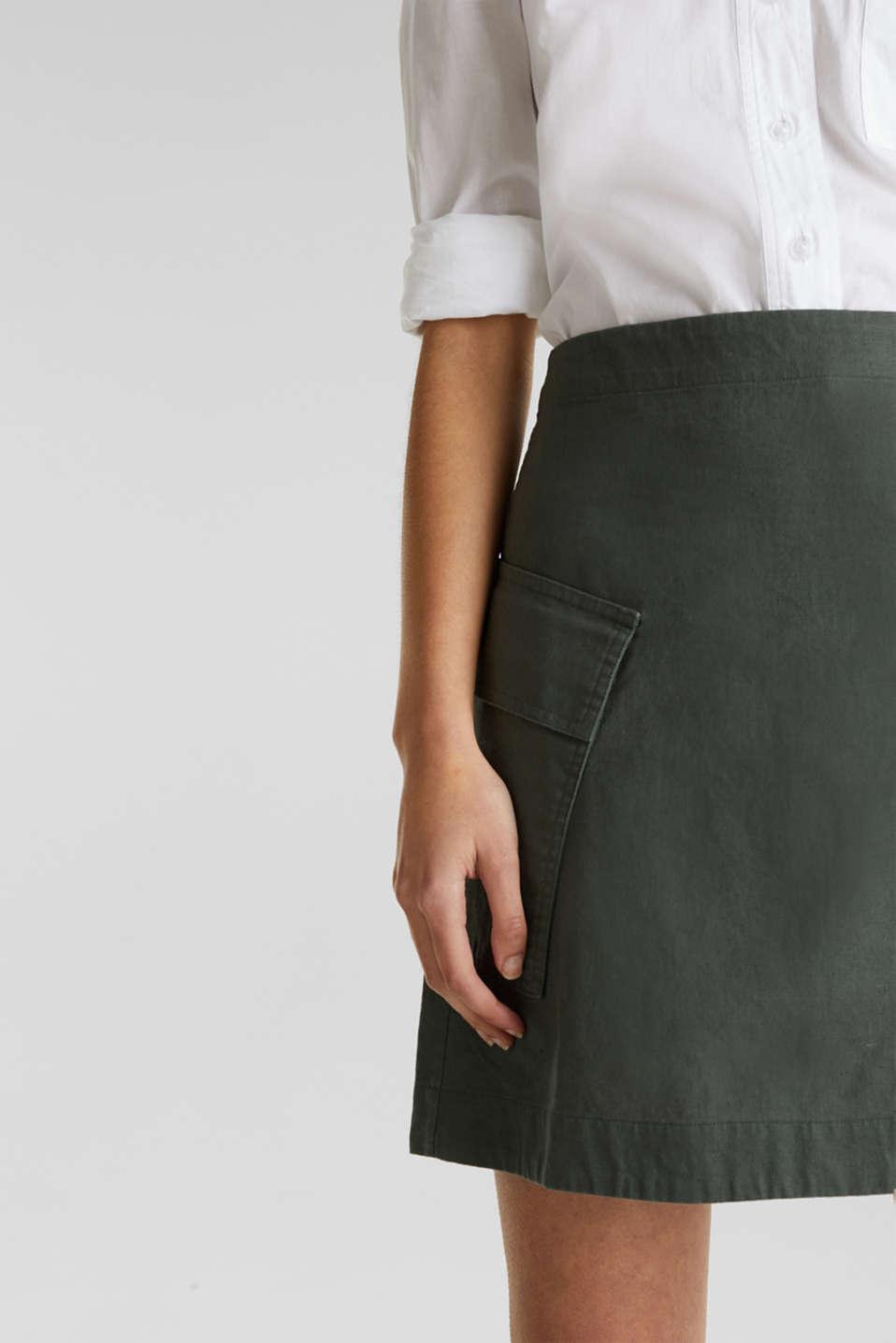 Cargo-style skirt in blended linen, KHAKI GREEN, detail image number 2