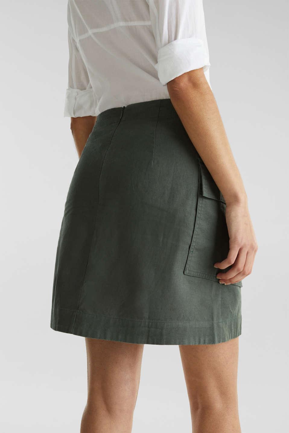 Cargo-style skirt in blended linen, KHAKI GREEN, detail image number 6