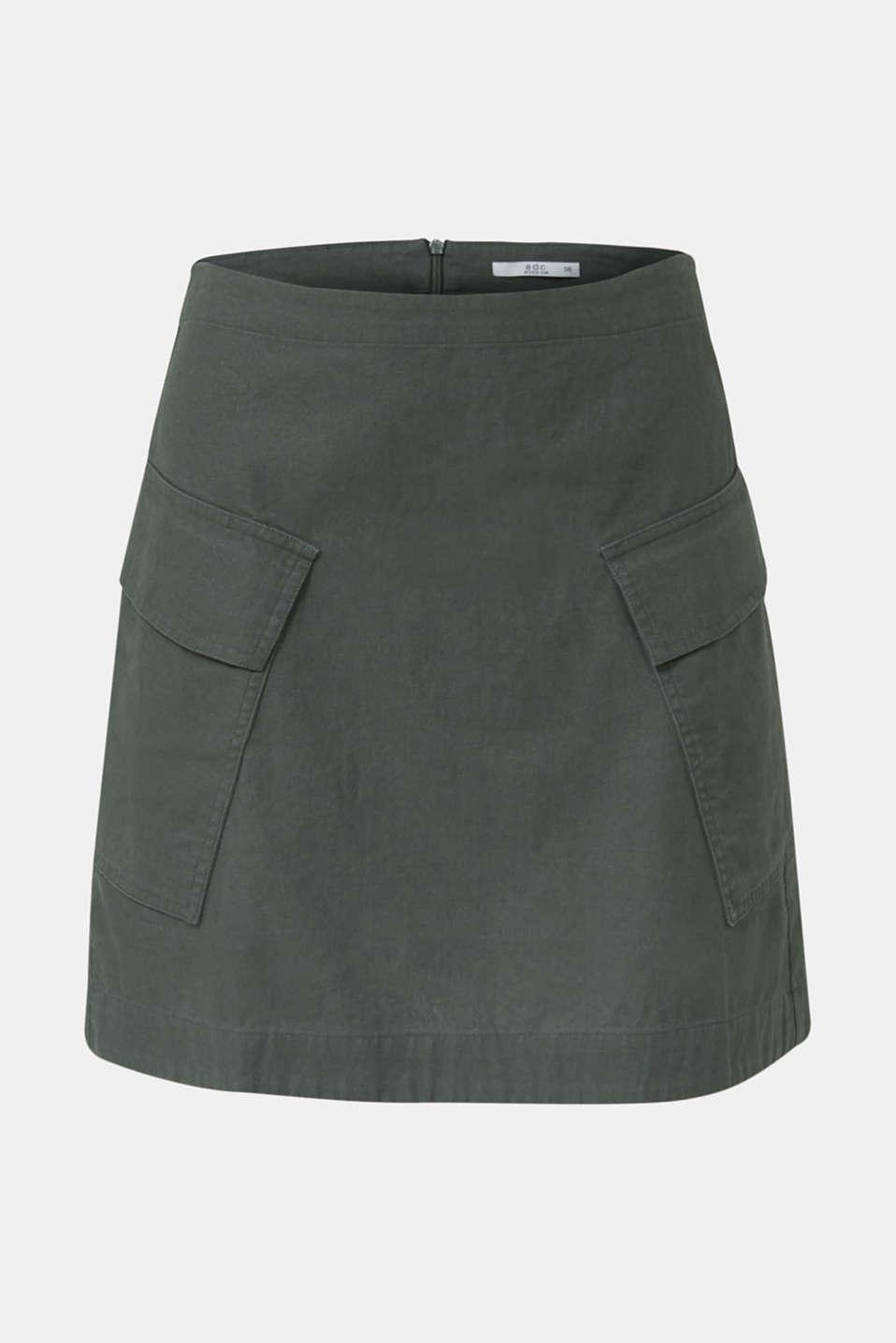 Cargo-style skirt in blended linen, KHAKI GREEN, detail image number 7