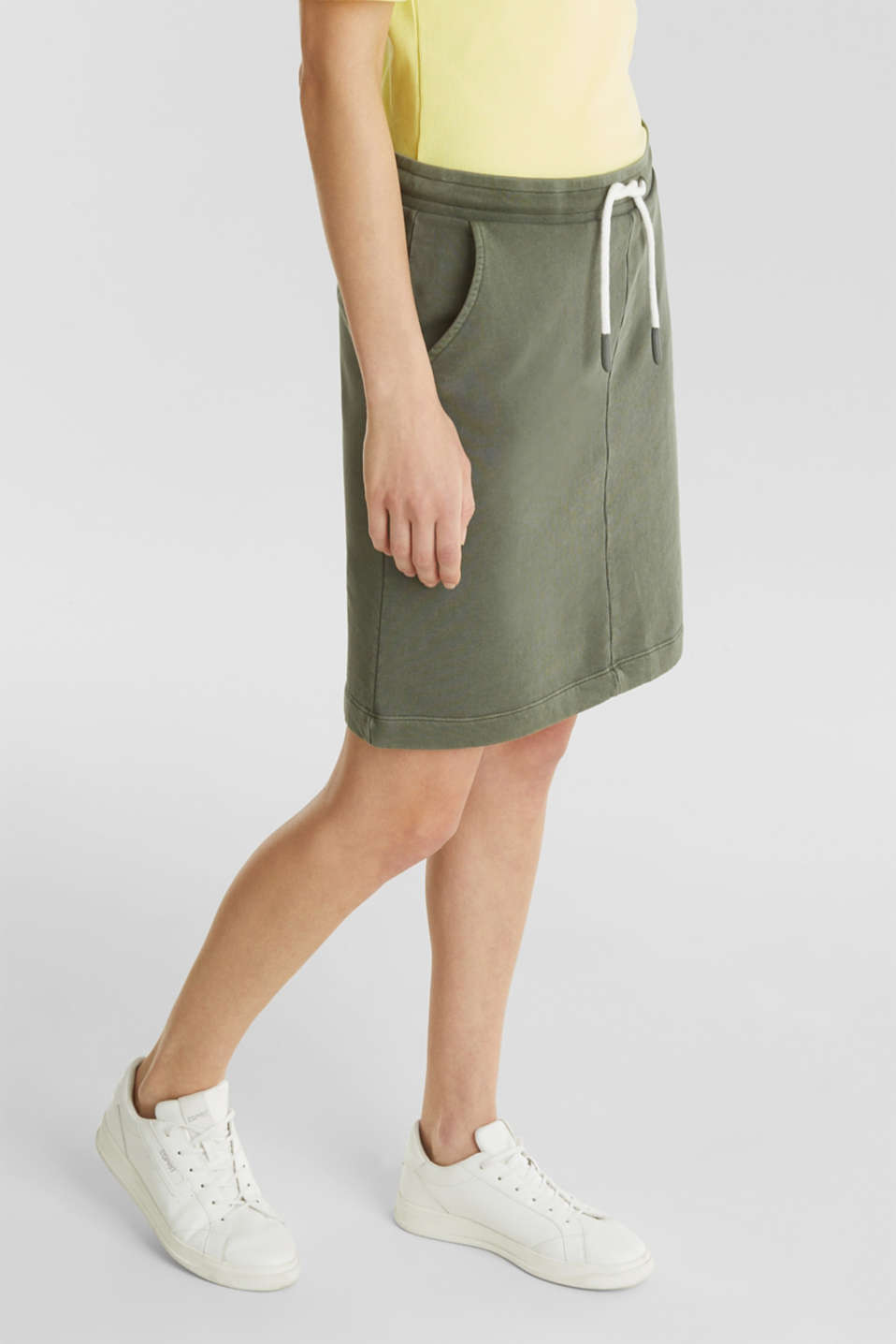 Sweatshirt fabric skirt, 100% cotton, KHAKI GREEN, detail image number 0
