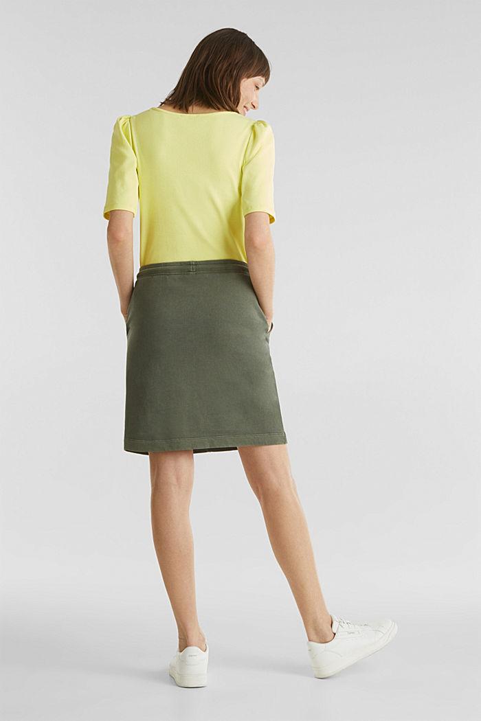 Sweatshirt fabric skirt, 100% cotton, KHAKI GREEN, detail image number 3
