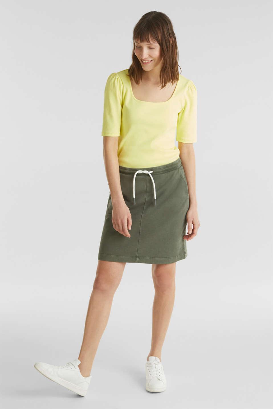 Sweatshirt fabric skirt, 100% cotton, KHAKI GREEN, detail image number 1