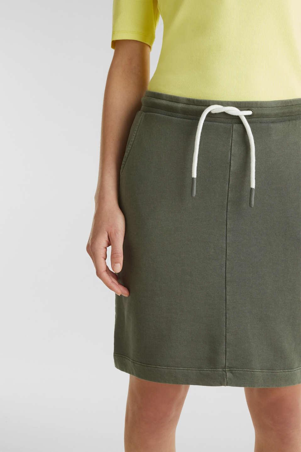 Sweatshirt fabric skirt, 100% cotton, KHAKI GREEN, detail image number 2