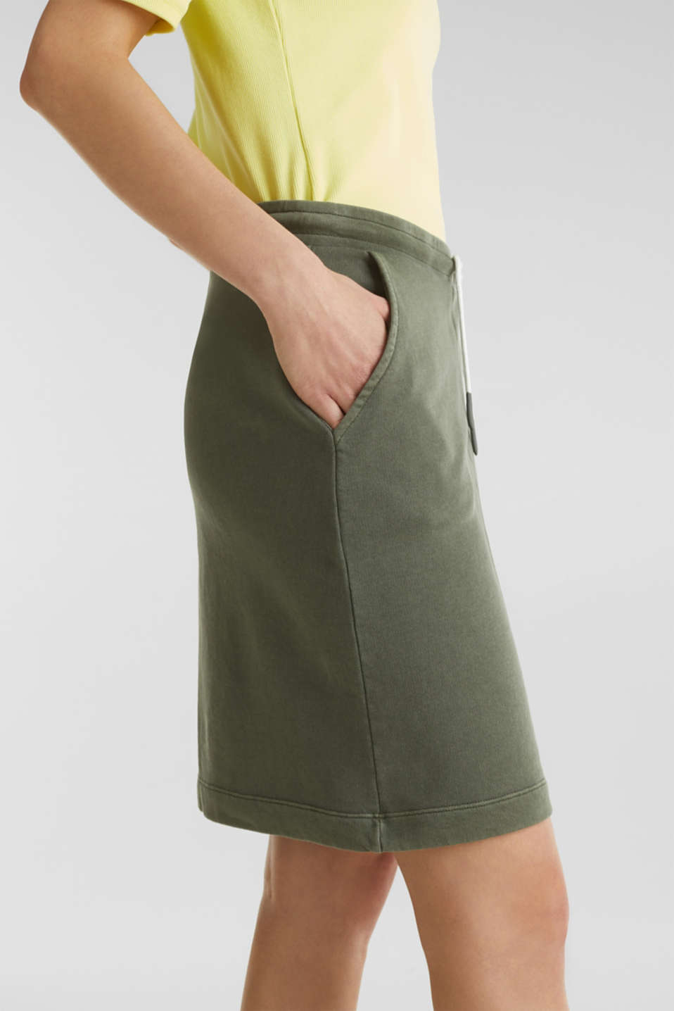 Sweatshirt fabric skirt, 100% cotton, KHAKI GREEN, detail image number 5