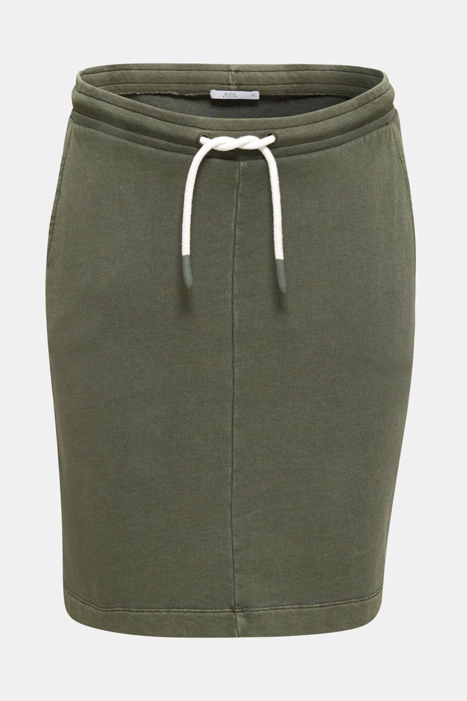 Sweatshirt fabric skirt, 100% cotton, KHAKI GREEN, detail image number 6