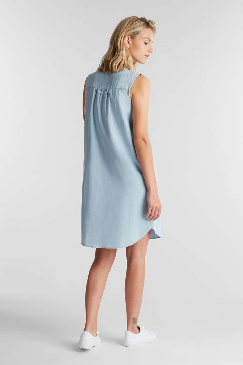 A-line denim dress, BLUE BLEACHED, detail image number 2