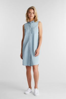 A-line denim dress, BLUE BLEACHED, detail