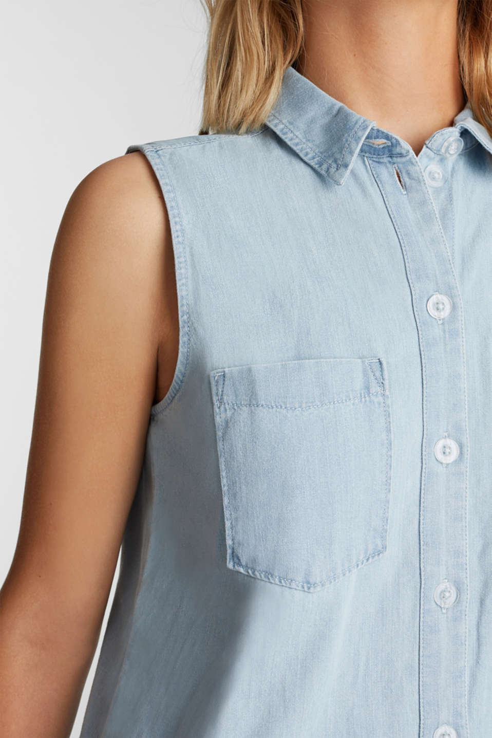 A-line denim dress, BLUE BLEACHED, detail image number 3