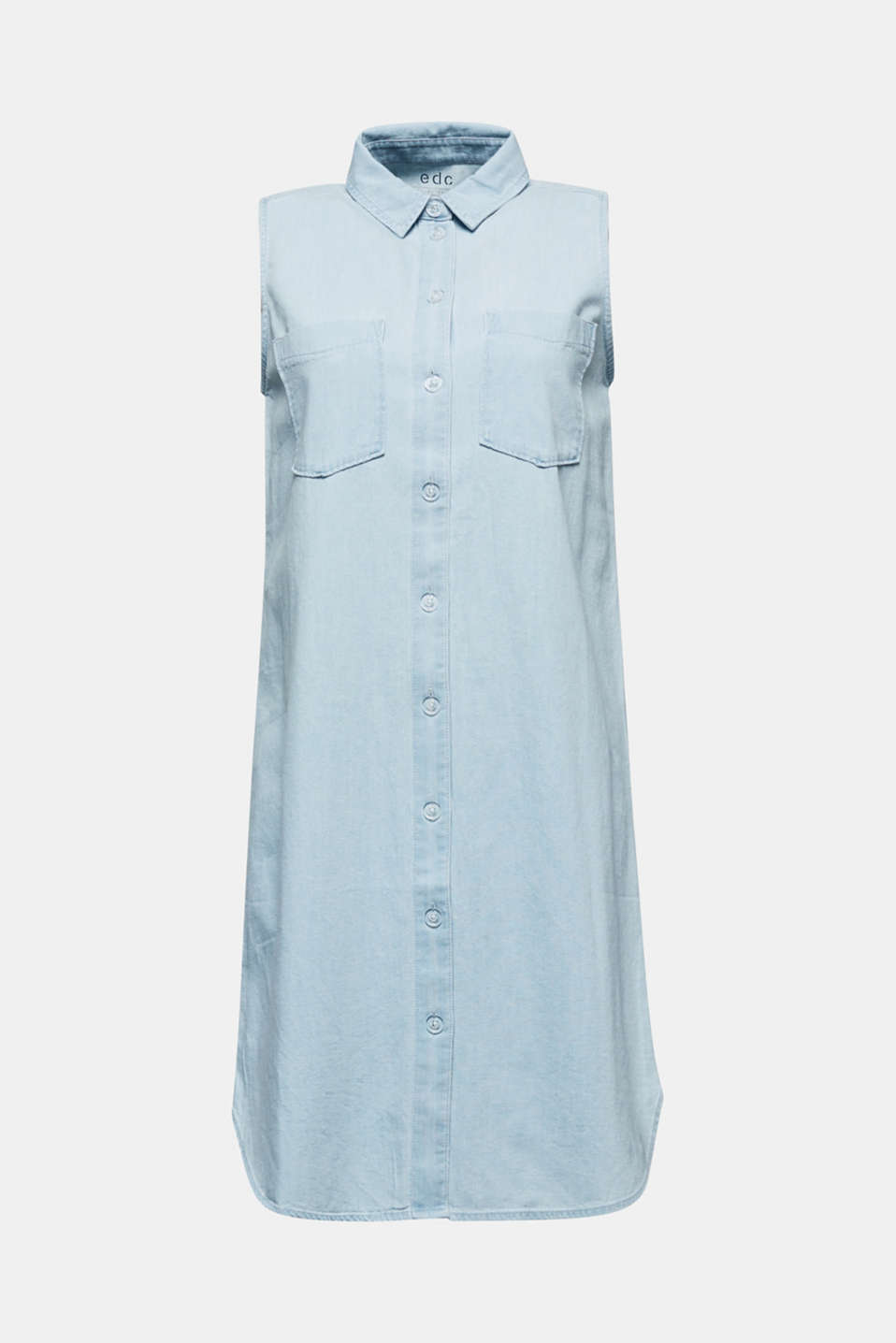 A-line denim dress, BLUE BLEACHED, detail image number 6