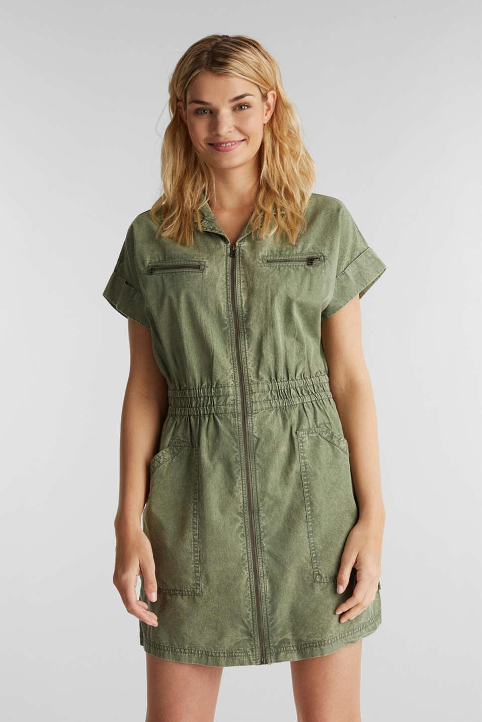 Dress made of 100% organic cotton, KHAKI GREEN, detail image number 0
