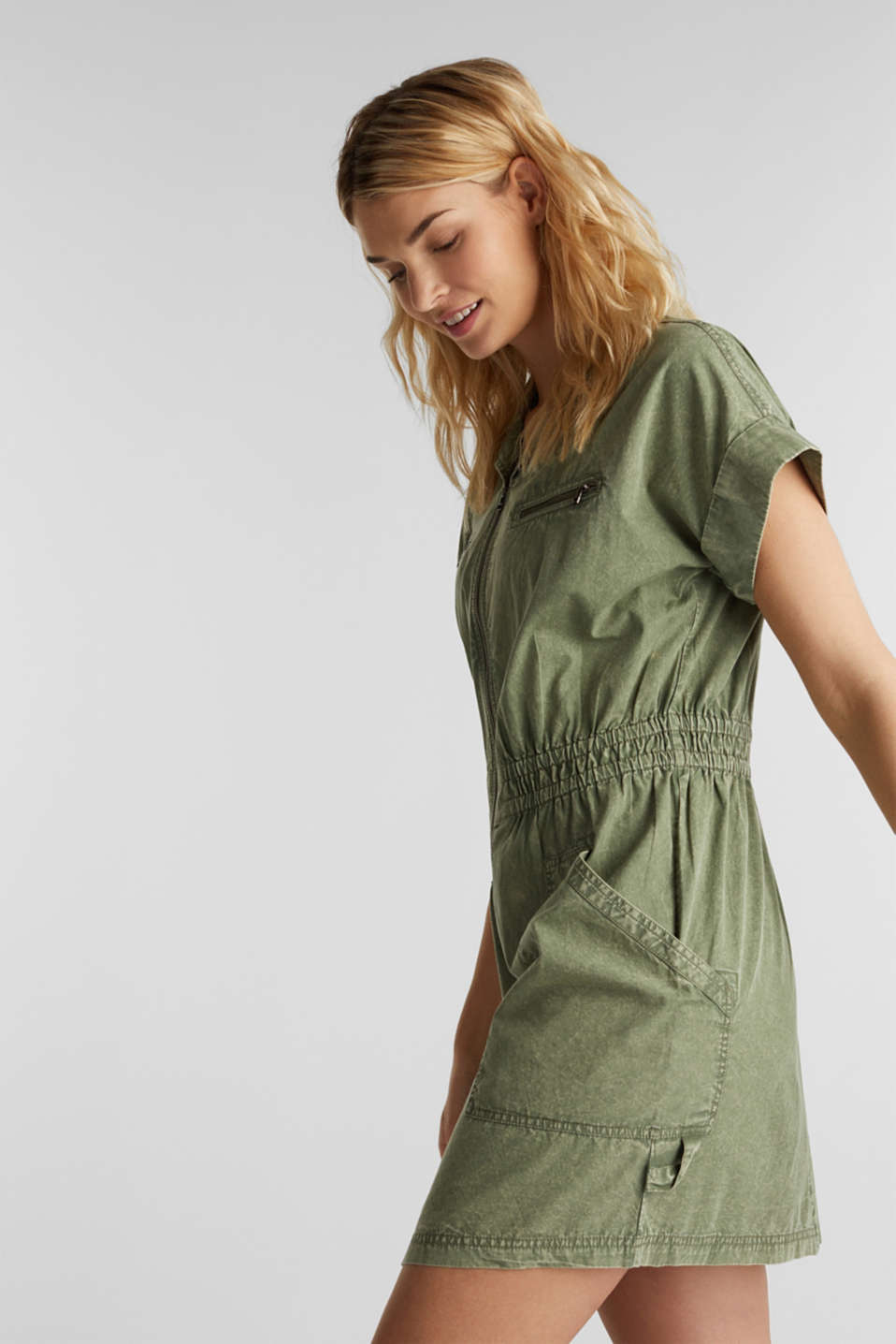 Dress made of 100% organic cotton, KHAKI GREEN, detail image number 4