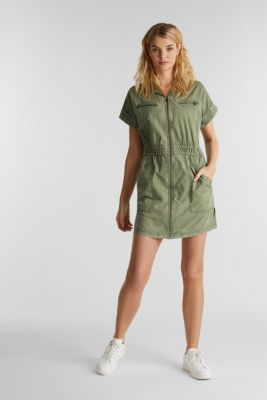 Dress made of 100% organic cotton, KHAKI GREEN, detail