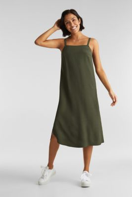 Strappy dress made of LENZING™ ECOVERO™, KHAKI GREEN, detail