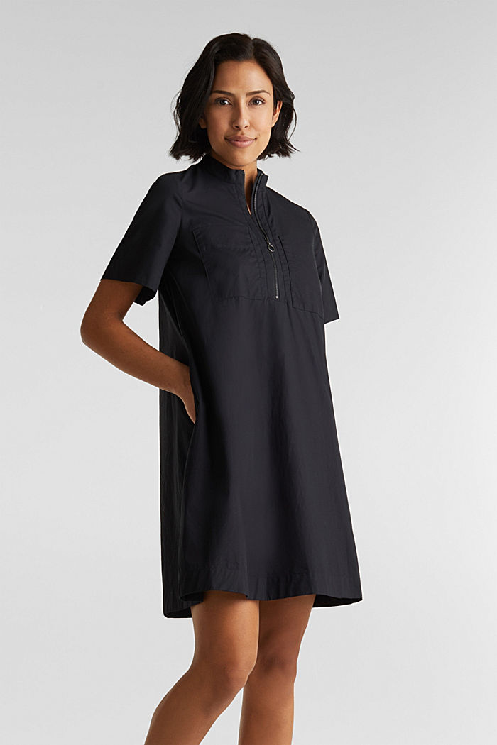 Utility dress made of organic cotton, BLACK, detail image number 0