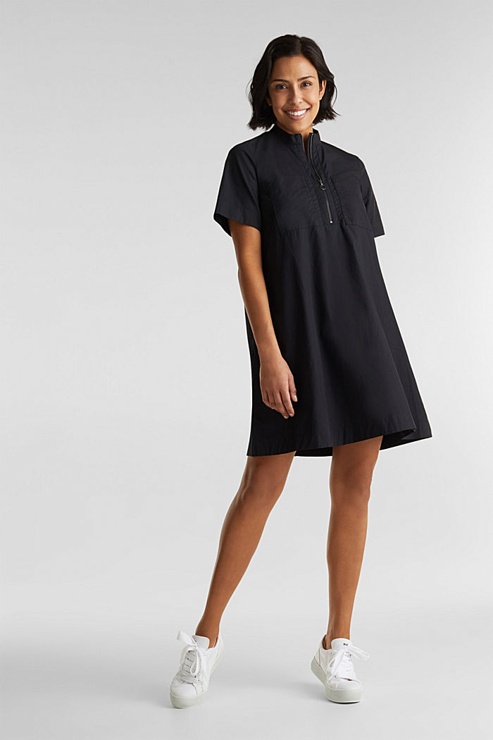 Utility dress made of organic cotton, BLACK, detail image number 1