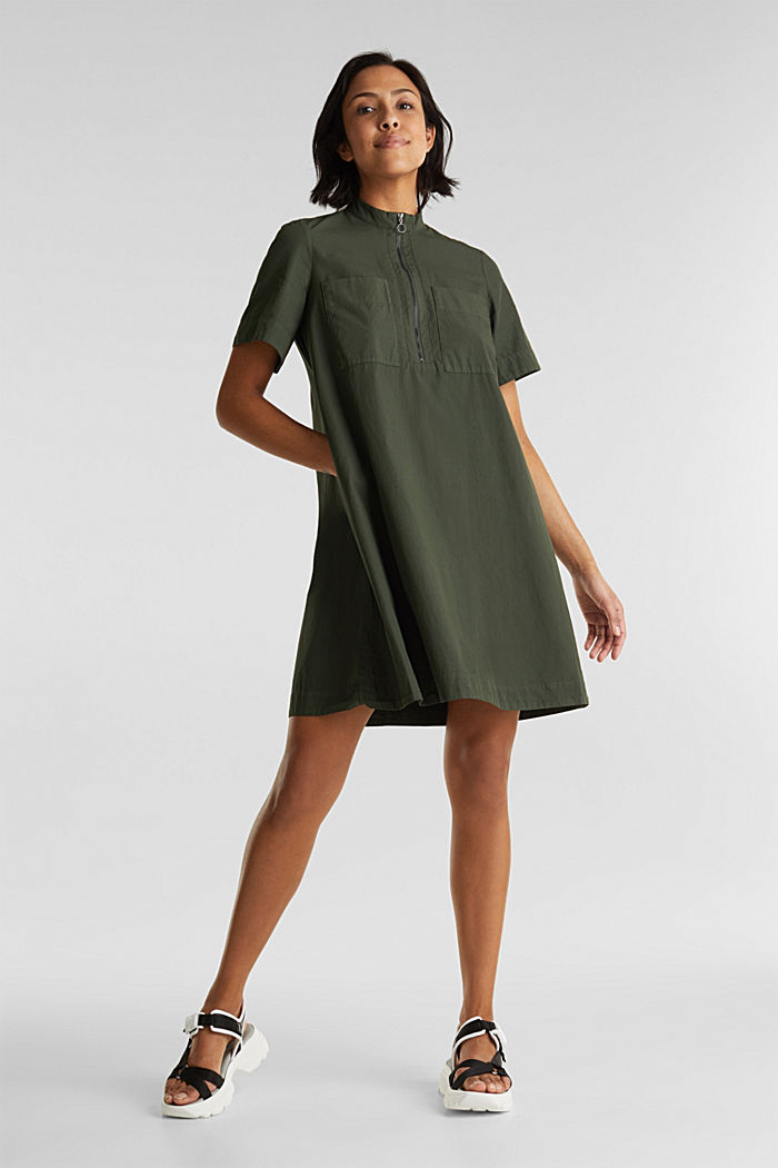 Utility dress made of organic cotton, KHAKI GREEN, overview