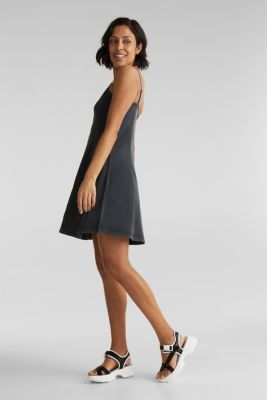 Jersey dress, 100% cotton, BLACK, detail