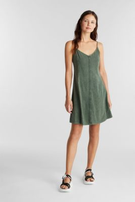 Jersey dress, 100% cotton, KHAKI GREEN, detail