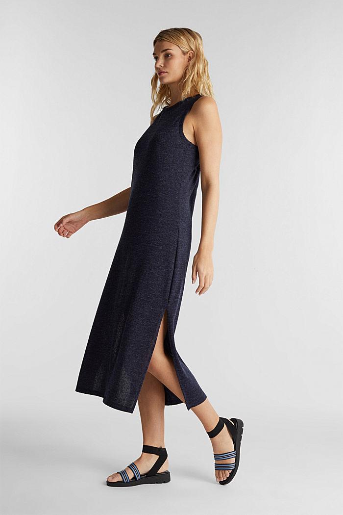 Jersey-Kleid mit Ringerrücken, NAVY, detail image number 1