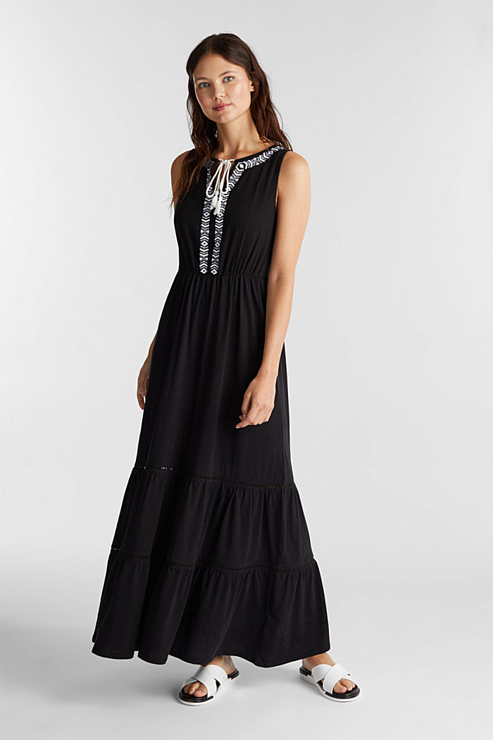 Maxi dress with embroidery, BLACK, detail image number 0