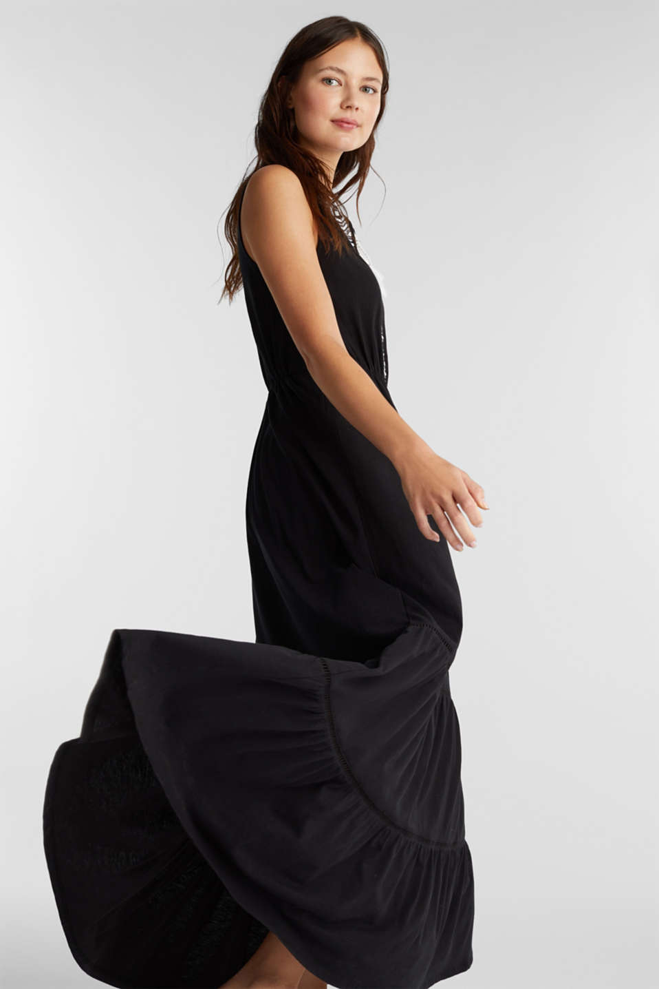Maxi dress with embroidery, BLACK, detail image number 1