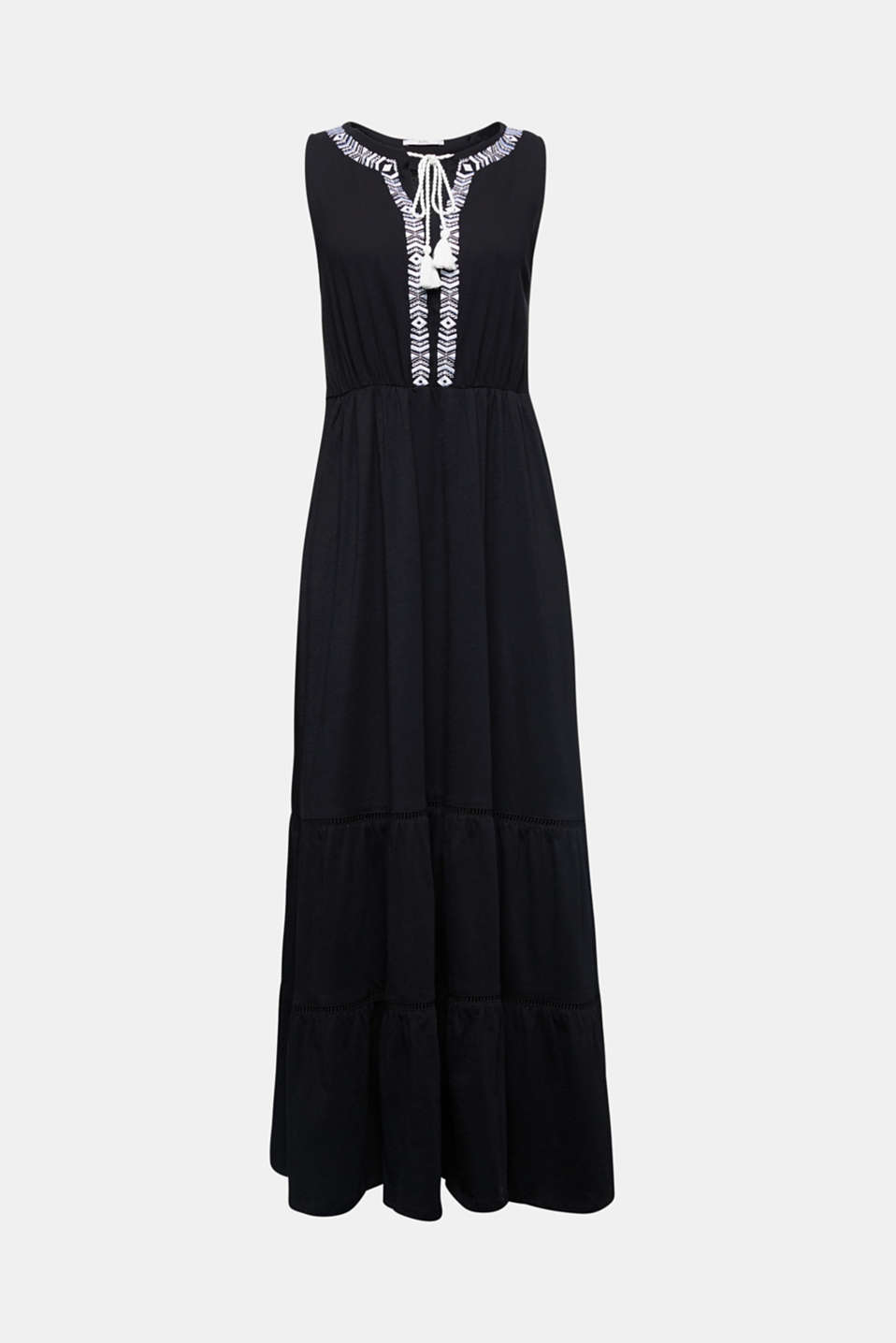 Maxi dress with embroidery, BLACK, detail image number 5