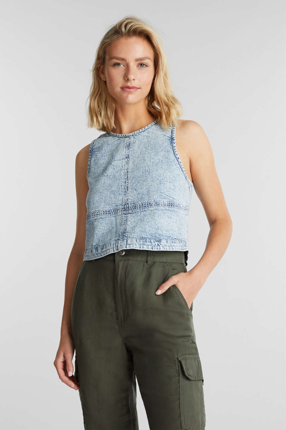 edc - Cropped blousetop van denim
